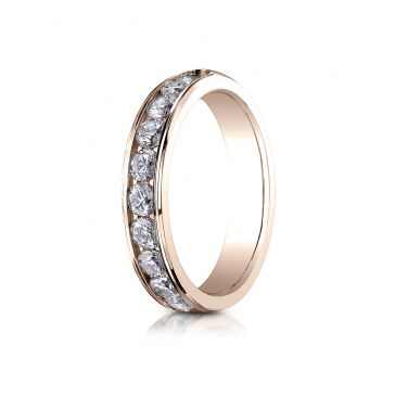 14k ROSE GOLD 4mm High Polished Channel Set 12-Stone Diamond Ring (.96ct)