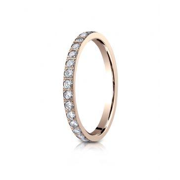14k Rose Gold 2mm Pave Set  Eternity Ring