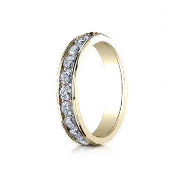 18K YELLOW GOLD 4mm High Polished Channel Set 12-Stone Diamond Ring (.96ct)