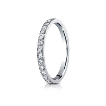 14k White Gold 2mm Pave Set  Eternity Ring