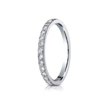 14k White Gold 2mm Pave Set  Eternity Ring