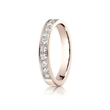14k Rose Gold 3mm high polish pave set 12 Stone Diamond Ring (.48)