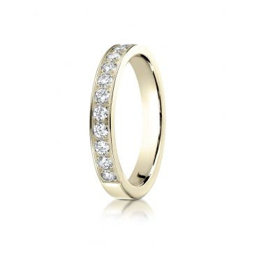 14k Yellow Gold 3mm high polish pave set 12 Stone Diamond Ring (.48)