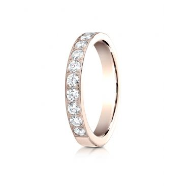 14k Rose Gold 3mm high polish pave set 11 Stone Diamond Ring (.66)
