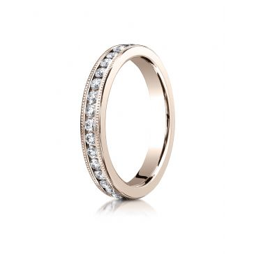 14k ROSE GOLD 3mm Channel Set  Eternity Ring with Milgrain.
