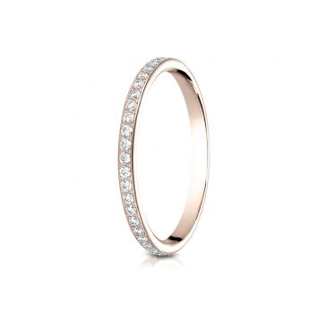 14k Rose Gold 2mm pave set diamond eternity ring