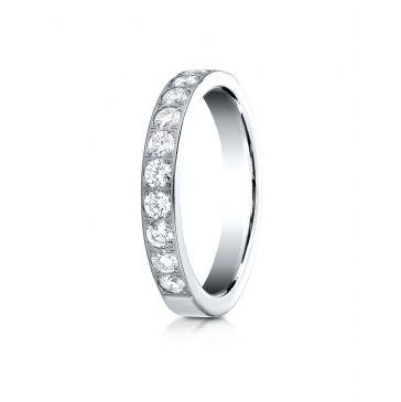 14k White Gold 3mm high polish pave set 11 Stone Diamond Ring (.66)