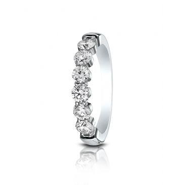 14k White Gold 3mm high polish Shared Prong 6 Stone Diamond Ring (0.96)ctw