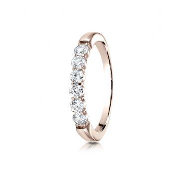 14k Rose Gold 3mm high polish Shared Prong 6 Stone Diamond Ring (.48)