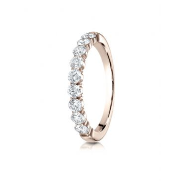 14k Rose Gold 3mm high polish Shared Prong 9 Stone Diamond Ring (.72)
