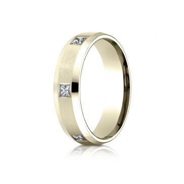 18k Yellow Gold 6mm Comfort-Fit Princess Cut Flush Set 6-Stone Eternity Ring (.60ct)