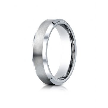 Cobaltchrome 6mm Comfort-Fit Satin-Finished Beveled Edge Design Ring