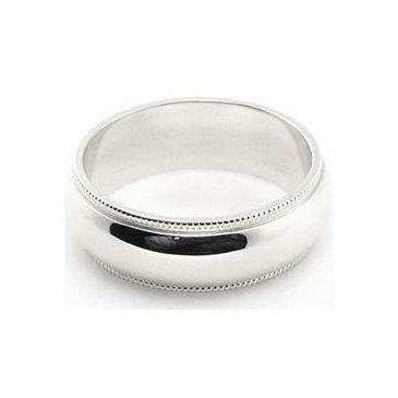 18k White Gold 6mm Comfort Fit Milgrain Wedding Band Heavy Weight