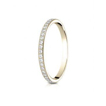 14k Yellow Gold 2mm pave set diamond eternity ring