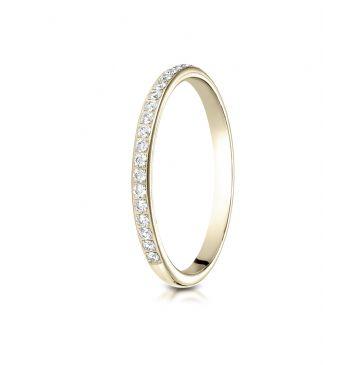 14k Yellow Gold 2mm pave set diamond  ring
