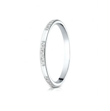 14k White Gold 2mm pave set diamond ring (.15ct)