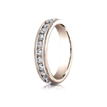 14k ROSE GOLD 4mm Channel Set  Eternity Ring with Milgrain.