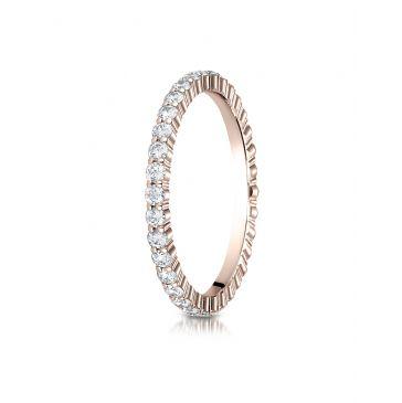 14k Rose Gold 2mm high polish Shared Prong Diamond Eternity Ring
