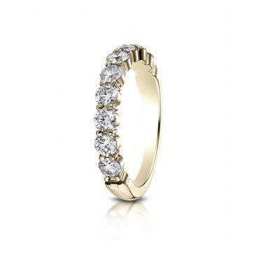 14k White Gold 3mm high polish Shared Prong 9 Stone Diamond Ring (0.99)ctw