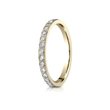 14k Yellow Gold 2mm Pave Set  Eternity Ring