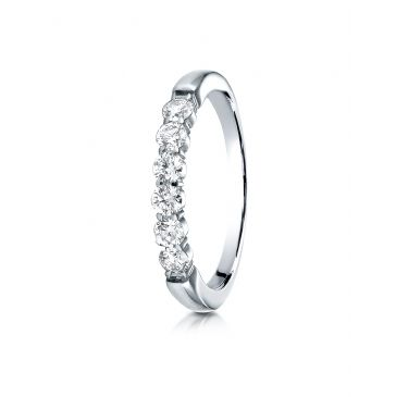 14k White Gold 3mm high polish Shared Prong 6 Stone Diamond Ring (.48)