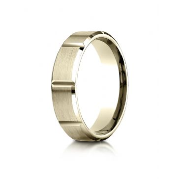 18k Yellow Gold 6mm Comfort-Fit Satin-Finished Grooves Carved Design Band