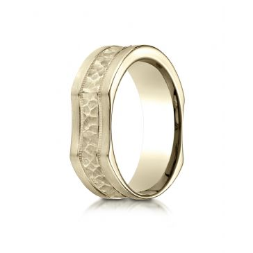 14k Yellow Gold 7mm Ergonomic Comfort-Fit Hammered Finish with High Polish Edge Design Band