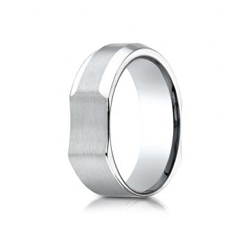 14k White Gold 7mm Ergonomic Comfort-Fit Satin Finish with High Polish Beveled Edge Design Band