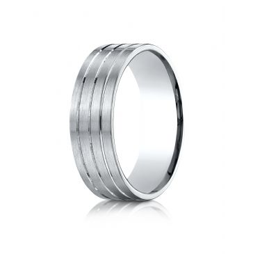 18k White Gold 7mm Comfort-Fit Satin-Finished with Parallel Center Cuts Carved Design Band