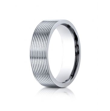 14k White Gold 7mm Comfort-Fit Satin-Finished with Threaded Pattern Carved Design Band