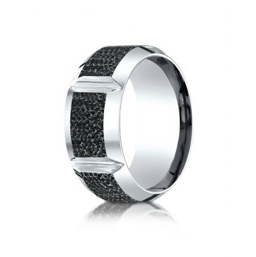Cobaltchrome 10mm Comfort Fit Blackened Micro hammer Ring