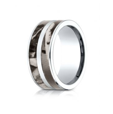Cobaltchrome 10mm Comfort Fit Ring with hunting Camo Inlay