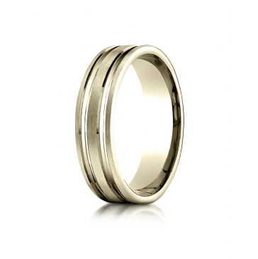 18k Yellow Gold 6mm Comfort-Fit Satin Finished with Parallel Grooves Carved Design Band