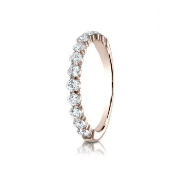 14k Rose Gold 3mm high polish Shared Prong 12 Stone Diamond Ring (.72)