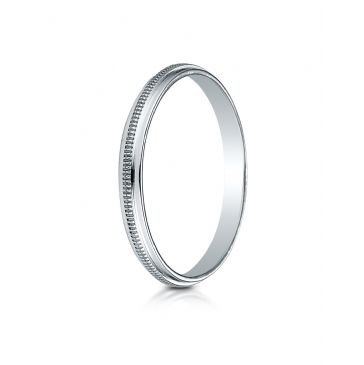 14k White Gold 2mm High Polished Milgrain Center Design Band