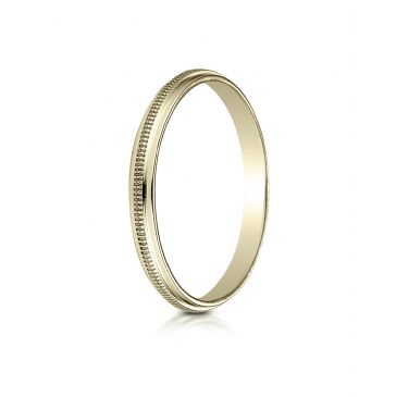 14k Yellow Gold 2mm High Polished Milgrain Center Design Band