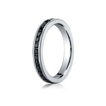 14K White Gold 3mm Channel Set  Black Diamond Eternity Ring with Milgrain