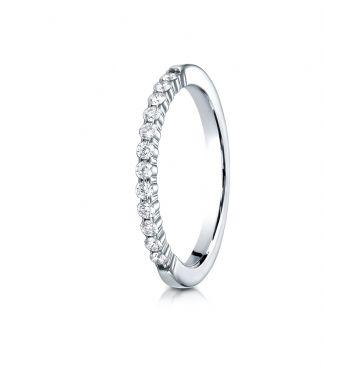 14k White Gold 2mm high polish Shared Prong 12 Stone Diamond Ring (.24)