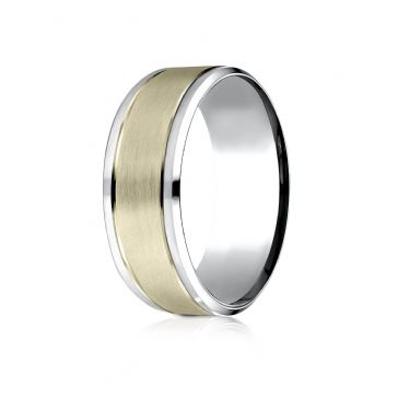 14k Two-Toned 8mm Comfort-Fit Drop Bevel Satin Finish Design Band