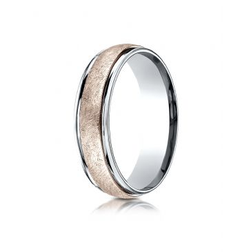 14k Two-Toned 6mm Comfort-Fit Swirl Finish Design Band