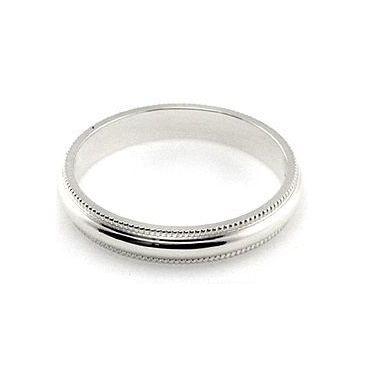 Platinum 950 3mm Milgrain Wedding Band Medium Weight