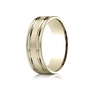 10k Yellow Gold 7mm Comfort-Fit SatinFinished with Parallel Grooves Carved Design Band