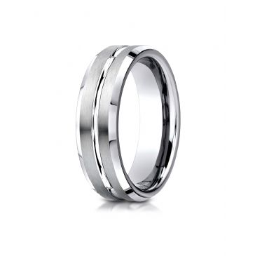 Cobaltchrome 7mm Comfort-Fit Satin-Finished Beveled Edge Design Ring