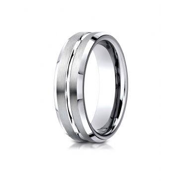 Cobaltchrome 7mm Comfort-Fit Satin-Finished Beveled Edge Design Ring