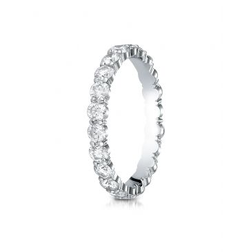 14k White Gold 3mm high polish Shared Prong  Diamond Eternity Ring