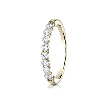 14k Yellow Gold 3mm high polish Shared Prong 8 Stone Diamond Ring (.48)
