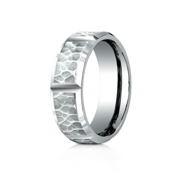 Palladium 7mm Comfort-Fit Hammered Finish Grooved Carved Design Band