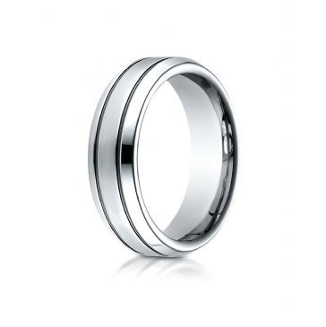 Cobaltchrome 7.0mm Comfort-Fit Satin-Finished Blackened Design Ring