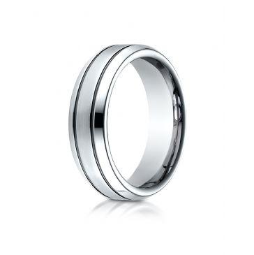 Cobaltchrome 7.0mm Comfort-Fit Satin-Finished Blackened Design Ring
