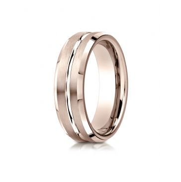 14k Rose Gold 6mm Comfort-Fit Satin-Finished with High Polished Cut Carved Design Band